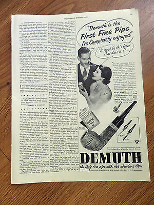1949 Demuth Pipes Ad Only Pip with this absorbent Filter