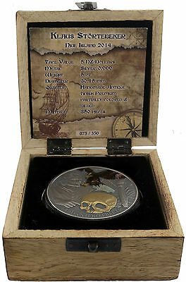 2014 5 oz Silver Coin Niue Island Klaus Störtebeker Pirate Of The North Gilded