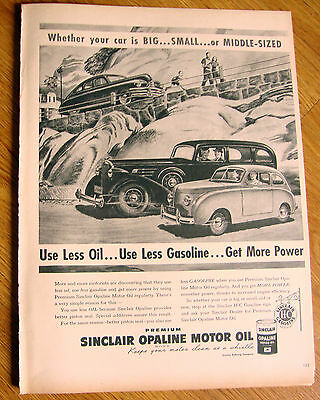 1948 Sinclair Opaline Motor Oil Ad  Big Small or Middle Sized Automobiles