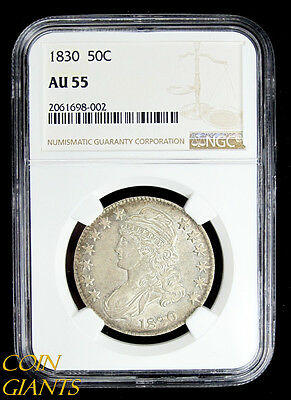 1830 Capped Bust Half Dollar NGC AU 55 Small 0 O-104 Silver Early US Type Coin