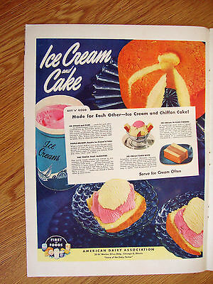 1948 American Dairy Association Ad   Ice Cream and Cake