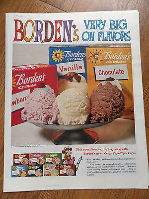 1960 Borden's Ice Cream Ad Very Big on Flavors New Color Keyed Packages