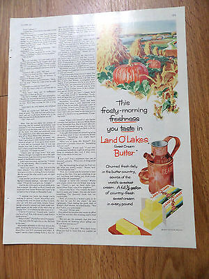 1960 Land O Lakes Butter Ad Frosty-Morning Freshness Fall Pumpkins