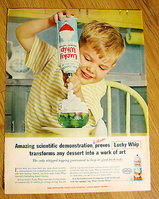 1961 Ad  Lucky Whip Topping Little Blond Boy