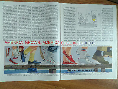 1960 U. S. Keds Shoes Ad  America Grows America goes In Keds