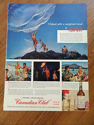1952 Canadian Club Whiskey Ad Hawaii Reef Fishing 1952 Chesterfield Ad Barb Hale