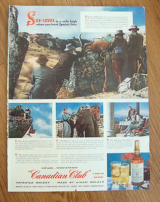 1954 Canadian Club Whiskey Ad Spain's Ibex Hunting