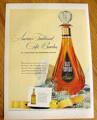 1955 Old Taylor Whiskey Ad   America's Traditional Gift Bourbon Decanter