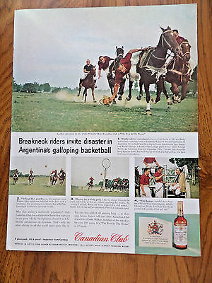 1959 Canadian Club Whiskey Ad  Argentina's Galloping Basketball called Pato