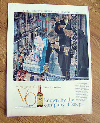 1959 Seagram's VO Whiskey Ad  Mardi Gras in New Orleans