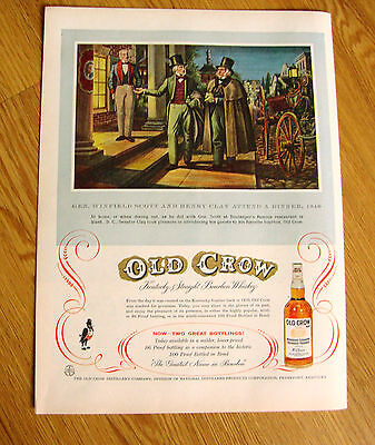 1955 Old Crow Whiskey Ad General Winfield Scott & Henry Clay Attend a Dinner