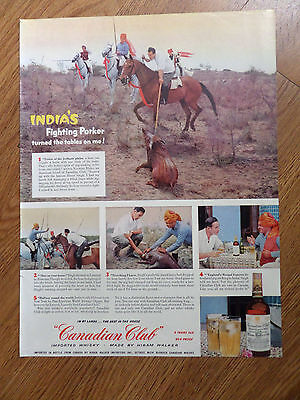 1954 Canadian Club Whiskey Ad India Jodhpur Plains Prker Pig Hunting with Lance