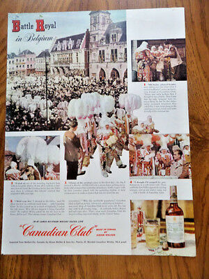 1949 Canadian Club Whiskey Ad Battle Royal in Belgium Binche Costumes Gilles