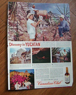 1945 Canadian Club Whiskey Ad Discovery in Yucatan Mayan