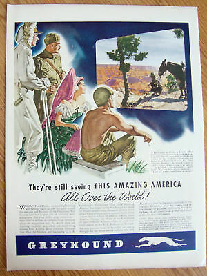 1944 Seagram's 5 Crown Whiskey Ad Greyhound Bus Ad
