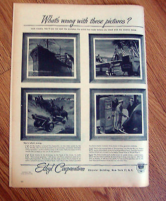 1944 Ethyl Gasoline Ad  What's wrong with these Pictures?