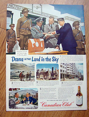 1944 Canadian Club Whiskey Ad Pan Am   Bolivia in the Land in the Sky
