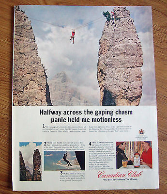 1964 Canadian Club Whiskey Ad Traverse Dolomite Alps