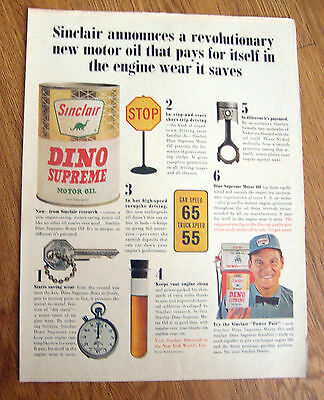 1964 Sinclair Dino Supreme Motor Oil Ad 1964 Robt Burns Cigarillos Ad