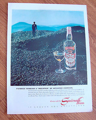 1964 Smirnoff Vodka Ad Filtered through A Mountain of Activated Charcoal