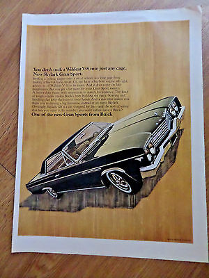 1965 Buick Skylark Gran Sport Ad You Don't tuck a Wildcat V-8 into Just any Cage