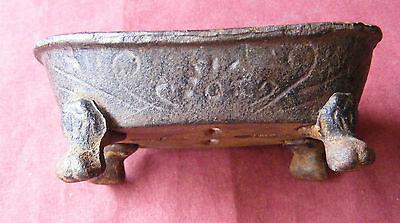 rustic vintage ornate soap dish,in the shape of antique bath  rust included....