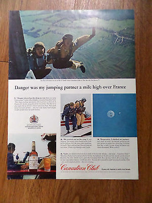 1963 Canadian Club Whiskey Ad Sky Diving over France