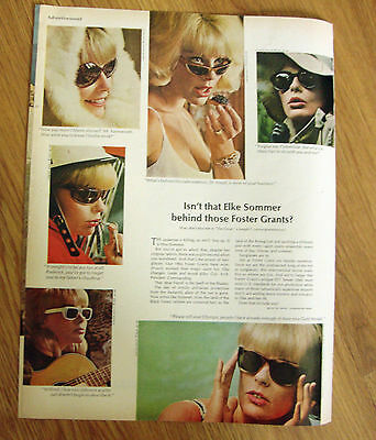 1966 Continental Airlines Ad Pride in Japanese? Foster Grants Grant Elke Sommer