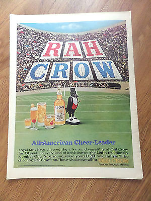 1966 Old Crow Whiskey Ad All American Cheer-Leader Football Theme