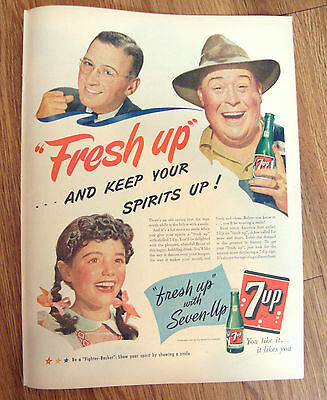1944 7up Soda Bottle Pop Ad Fresh Up Keep Your Spirits Up