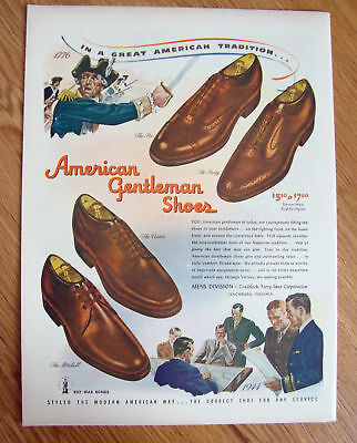 1944 American Gentleman Shoes Ad Tradition
