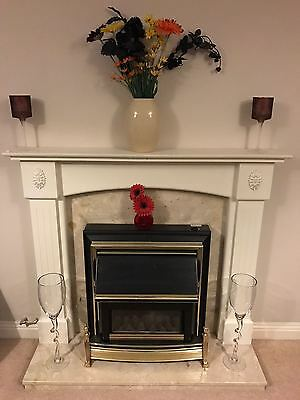Marble fireplace, hearth and surround