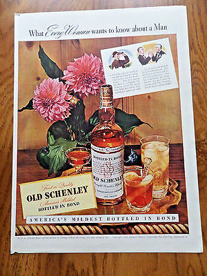1942 Old Schenley Whiskey Ad Every Woman Wants Man
