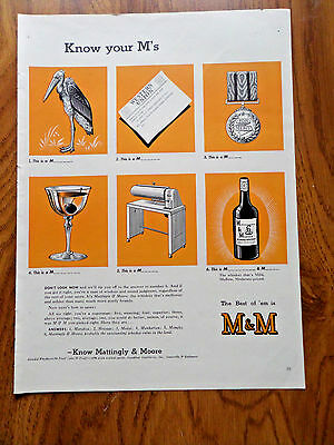 1942 M & M Whiskey Ad Know Your M's