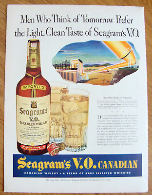 1942 Seagram's Whiskey Ad Electricity from the Sun