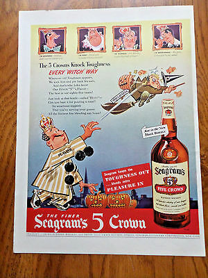 1942 Seagram's 5 Crown Whiskey Ad Halloween Witch Theme