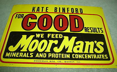 Vintage Old MoorMan's Metal Farm Feed Store Sign Jess Hill