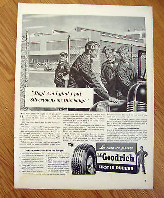 1942 B F Goodrich Tire Ad  Silvertowns on this Baby