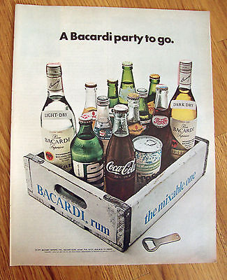 1971 Bacardi Puerto Rican Rum Ad  A Bacardi Party to Go
