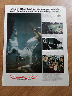 1971 Canadian Club Whiskey Ad Diving Mikimoto Pearl Island