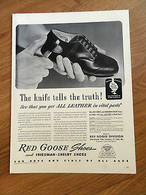 1941 Red Goose Shoes Shoe Ad The Knife Tells the Truth!