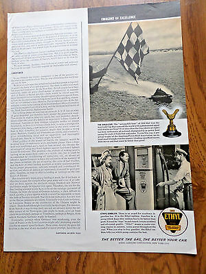 1941 Ethyl Gasoline Ad The Gold Cup Boat Racing Theme
