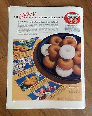 1938 Ad  Five Lively Ways to Serve Doughnuts