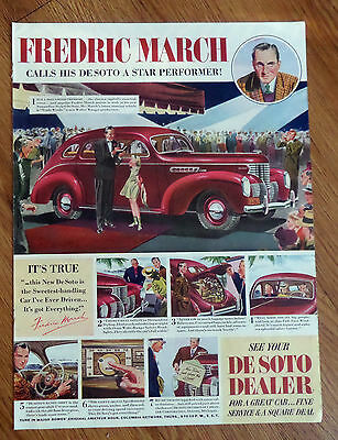 1939 DeSoto Ad Hollywood Movie Star Fredric March