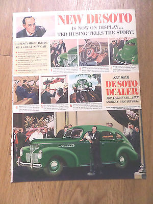 1939 DeSoto Ad Hollywood Star Ted Husing Tells Story