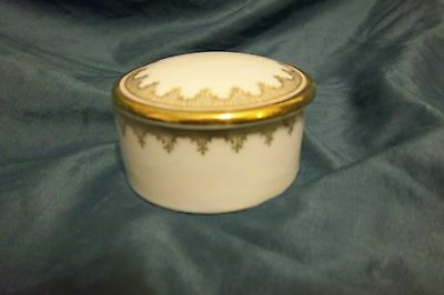 Antique vintage white porcelian gold gilt trinket box