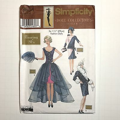 "RETIRED Simplicity 9664 Sewing Pattern 11.5"" Dolls 1920s Flapper Dress Hat UNCUT"