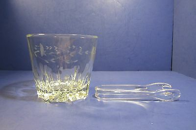 Princess House Heritage Lead Crystal Ice Bucket With Plastic Tongs