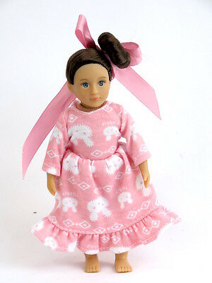 "Pink Bunny Nightgown Pajamas Fits 6"" Mini American Girl Doll Clothes"