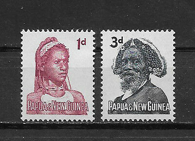 PAPUA & NEW GUINEA , 1961/63 , 1p & 3p  STAMPS ,  PERF, MNH